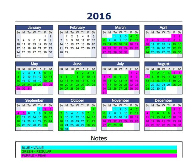 2016 Disneyland Tiered Pricing Calendar Talkdisneytome